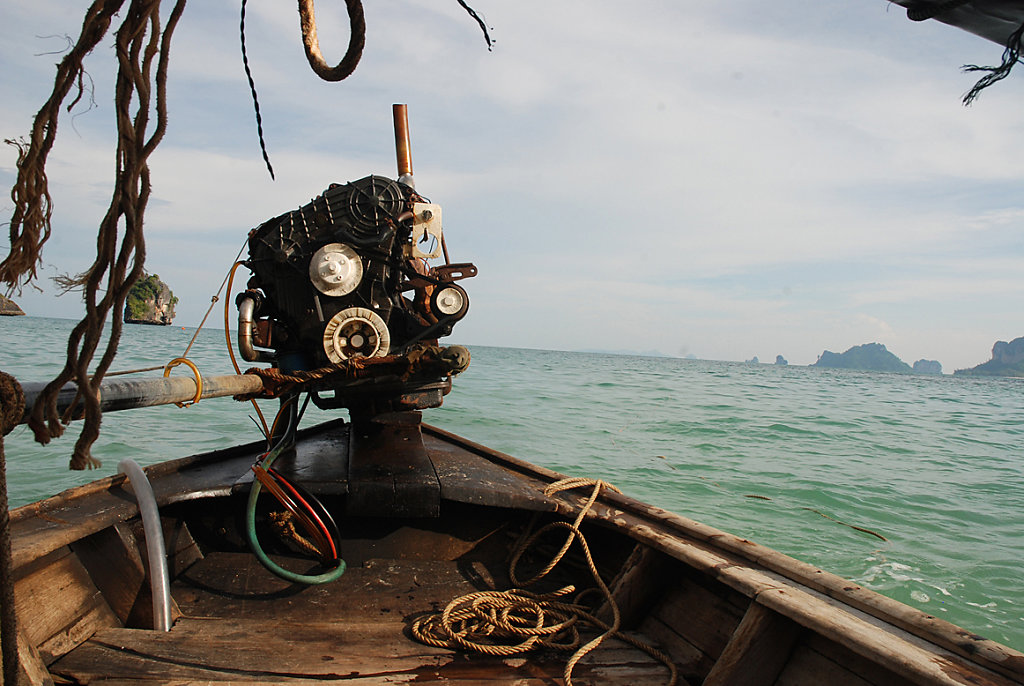 engine of a traditional longtail boat
